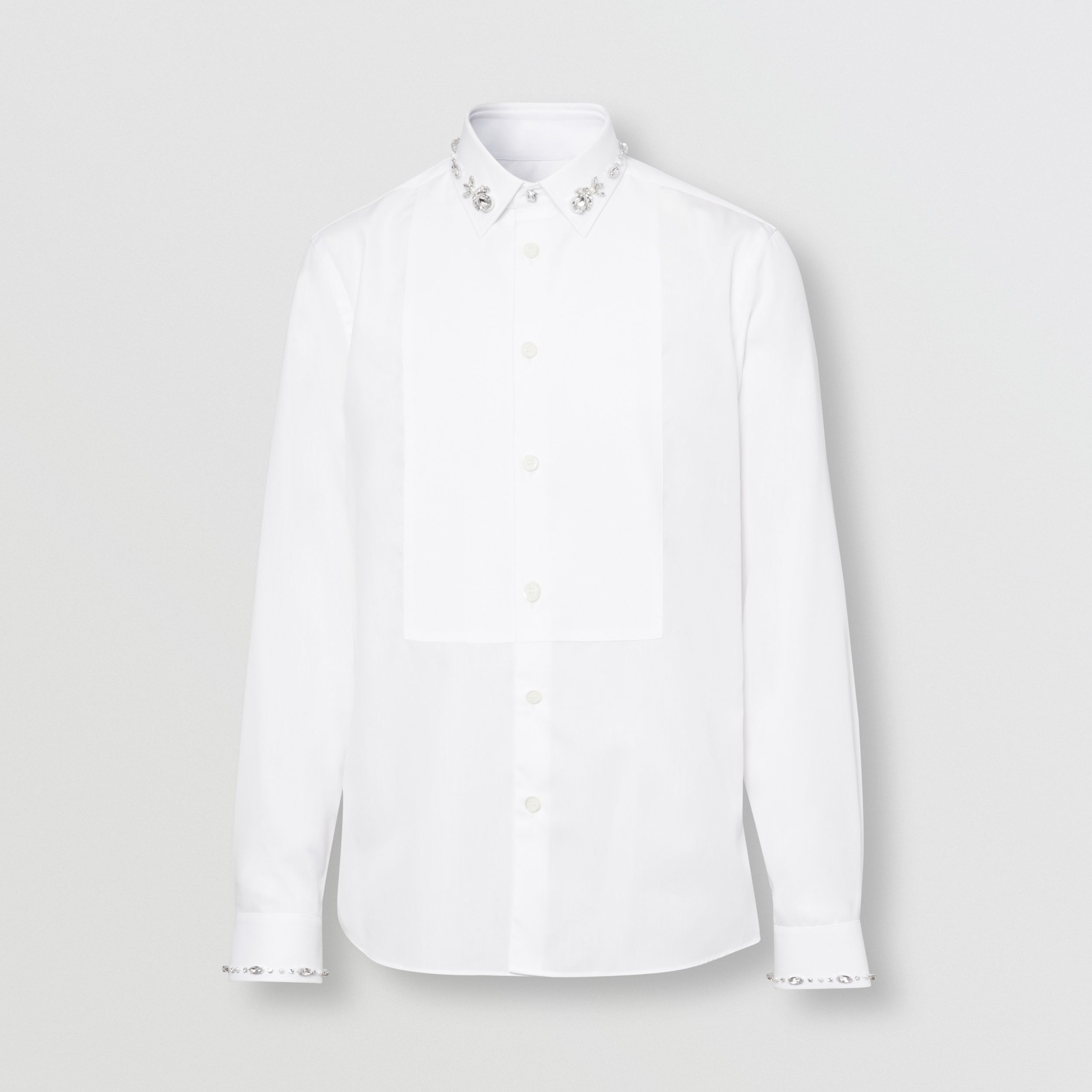 Slim Fit Embellished Cotton Poplin Shirt in White - Men | Burberry Australia - 4