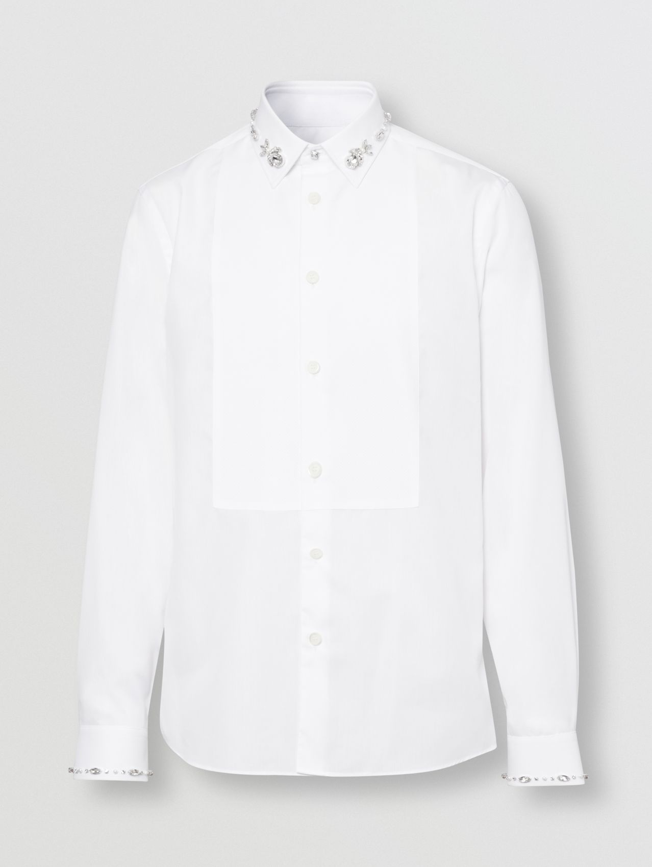 Slim Fit Embellished Cotton Poplin Shirt (White)