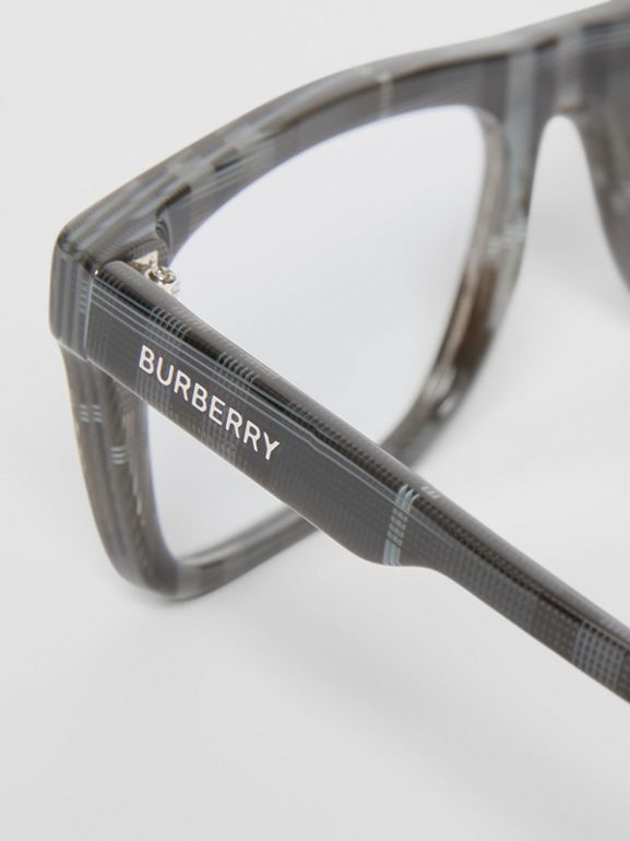 Vintage Check Rectangular Optical Frames in Charcoal Black - Men | Burberry - cell image 1