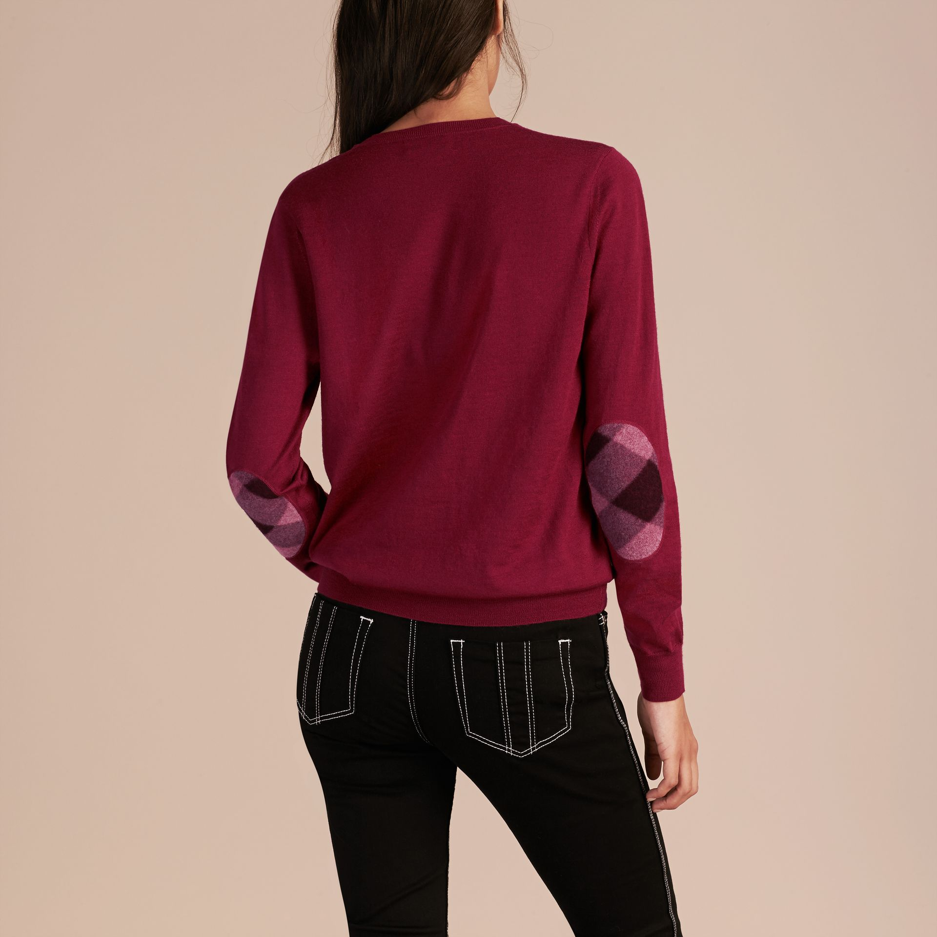 Crimson Check Detail Merino Wool Crew Neck Sweater Crimson - gallery image 6