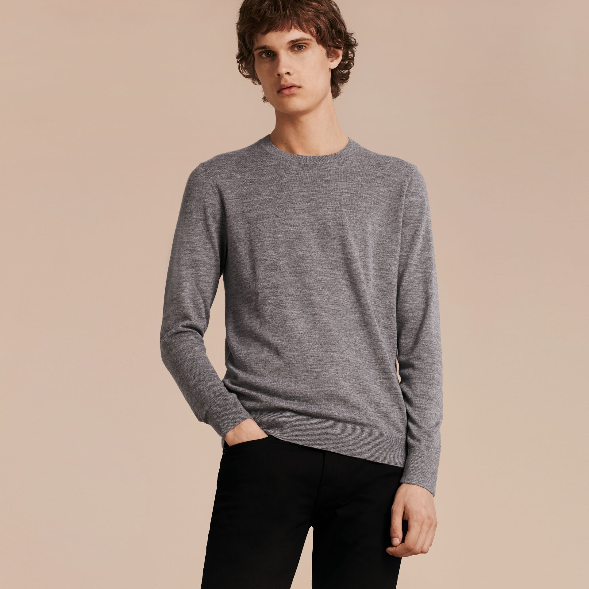 Lightweight Crew Neck Cashmere Sweater with Check Trim in Pale Grey Melange - gallery image 6