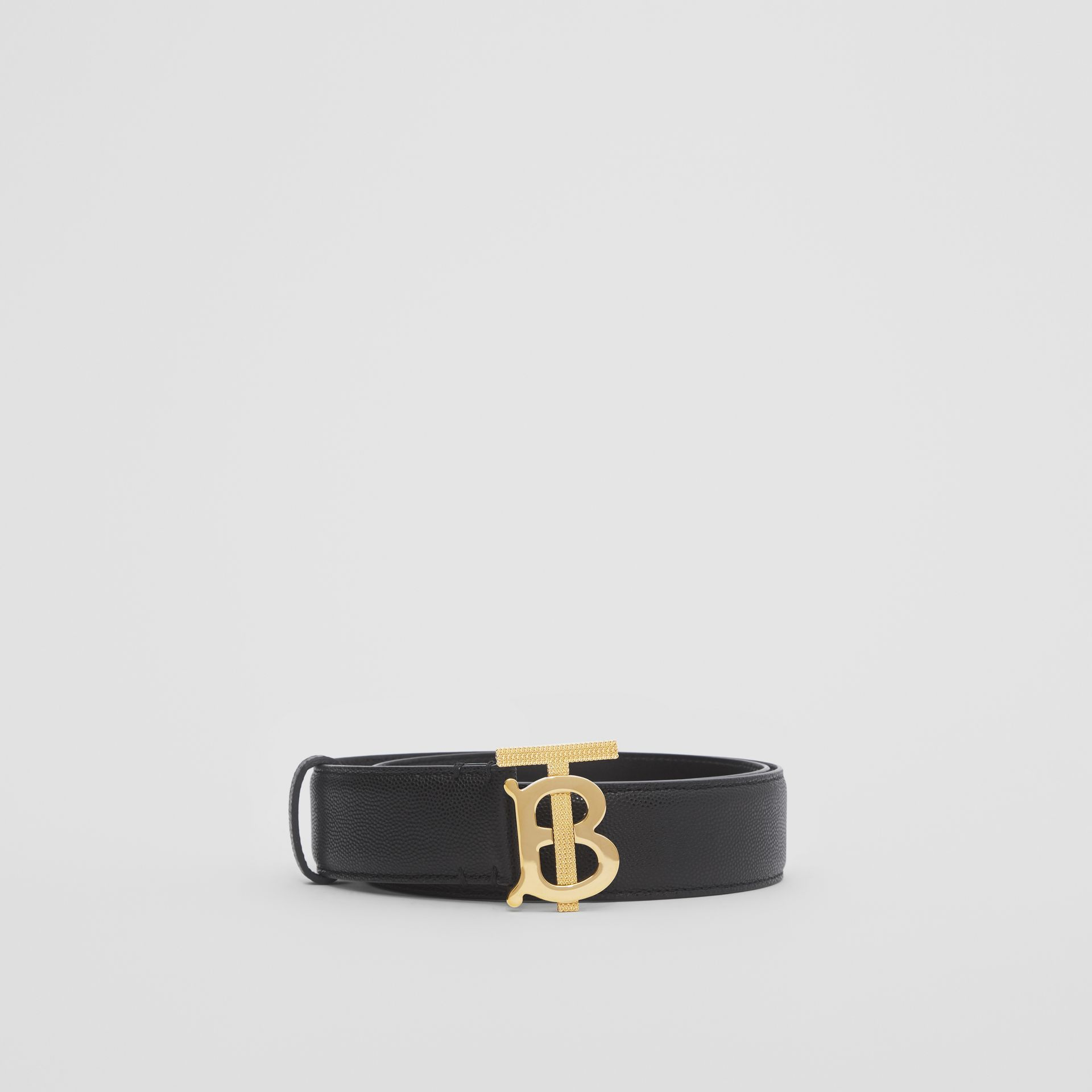 Monogram Motif Grainy Leather Belt in Black/light Gold - Women | Burberry - gallery image 2