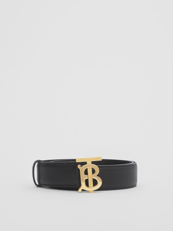 Monogram Motif Grainy Leather Belt in Black/light Gold - Women | Burberry - cell image 2