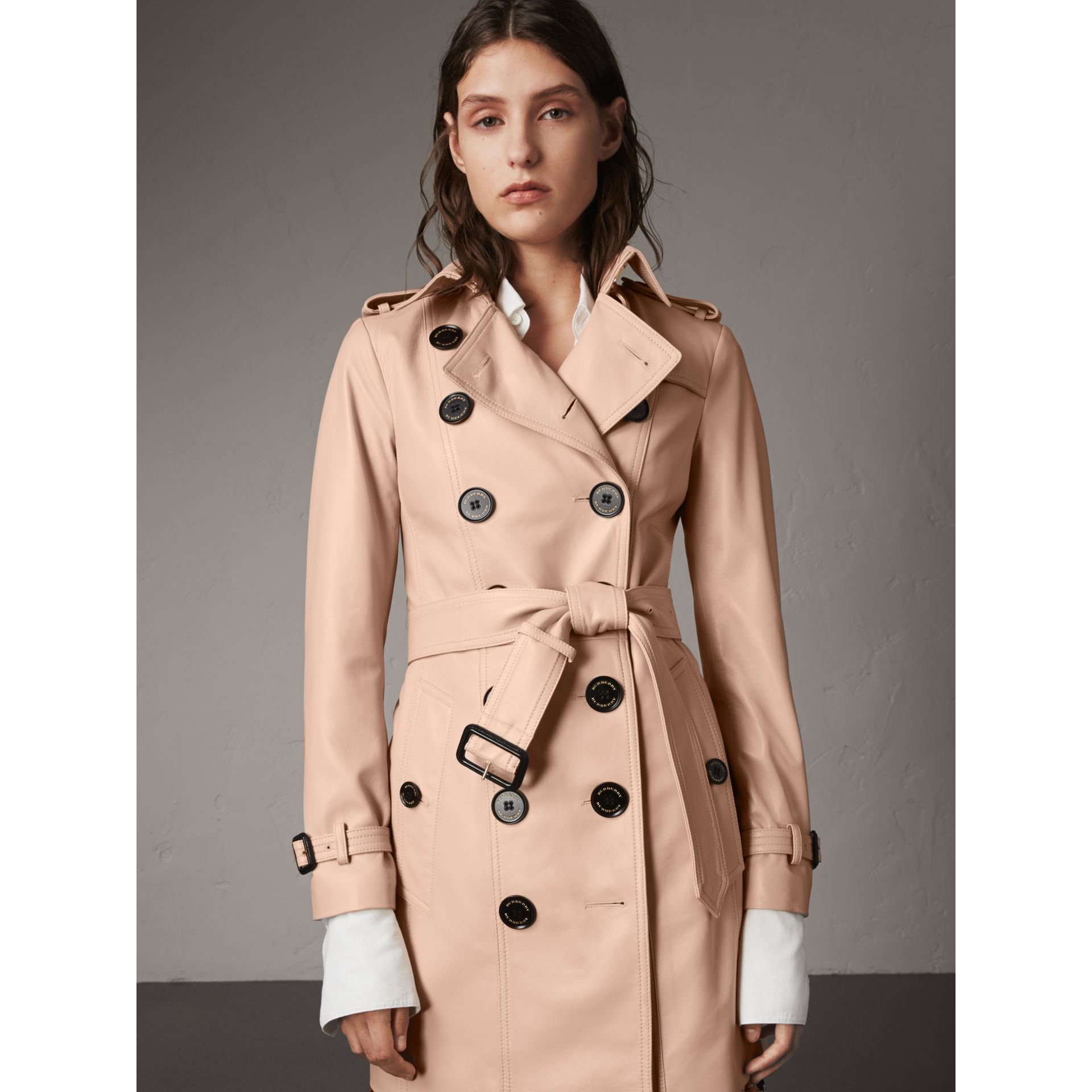 Lambskin Trench Coat in Pale Nude - Women | Burberry - gallery image 0