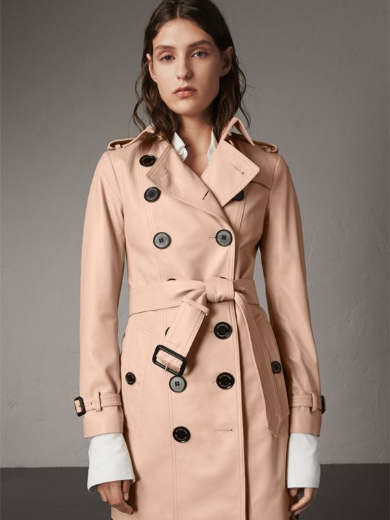 Lambskin Trench Coat in Pale Nude