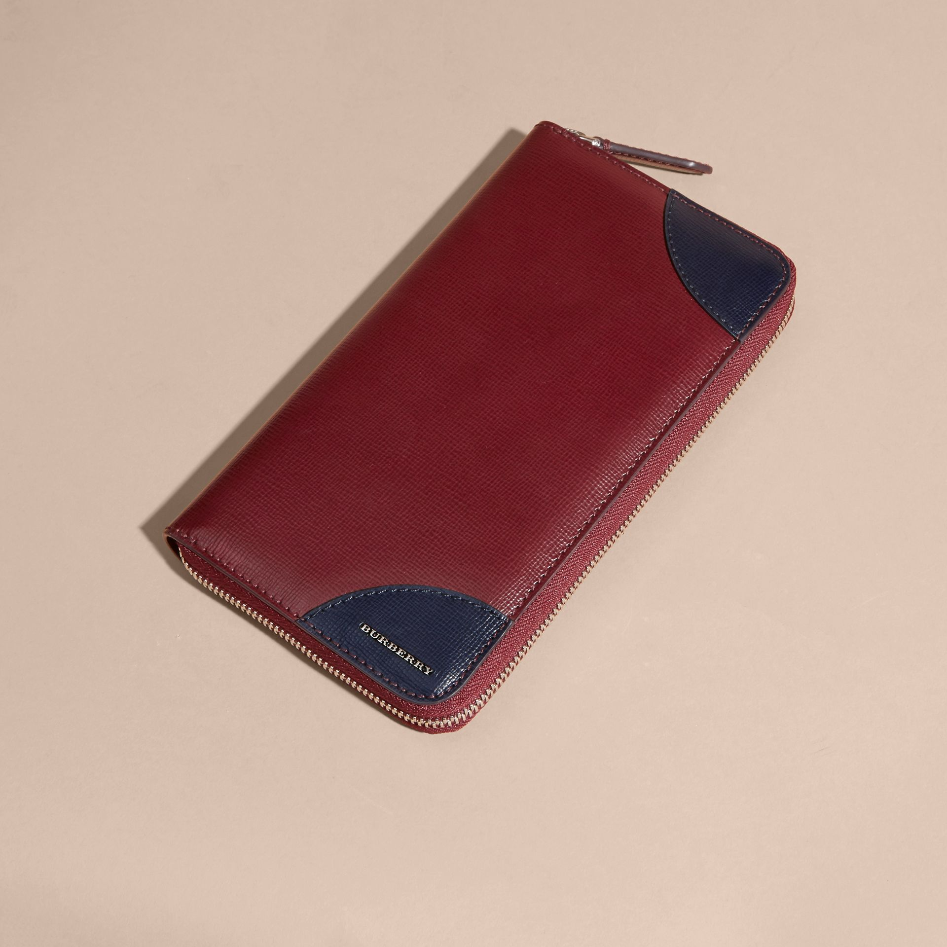 Contrast Corner London Leather Ziparound Wallet Burgundy Red - gallery image 6