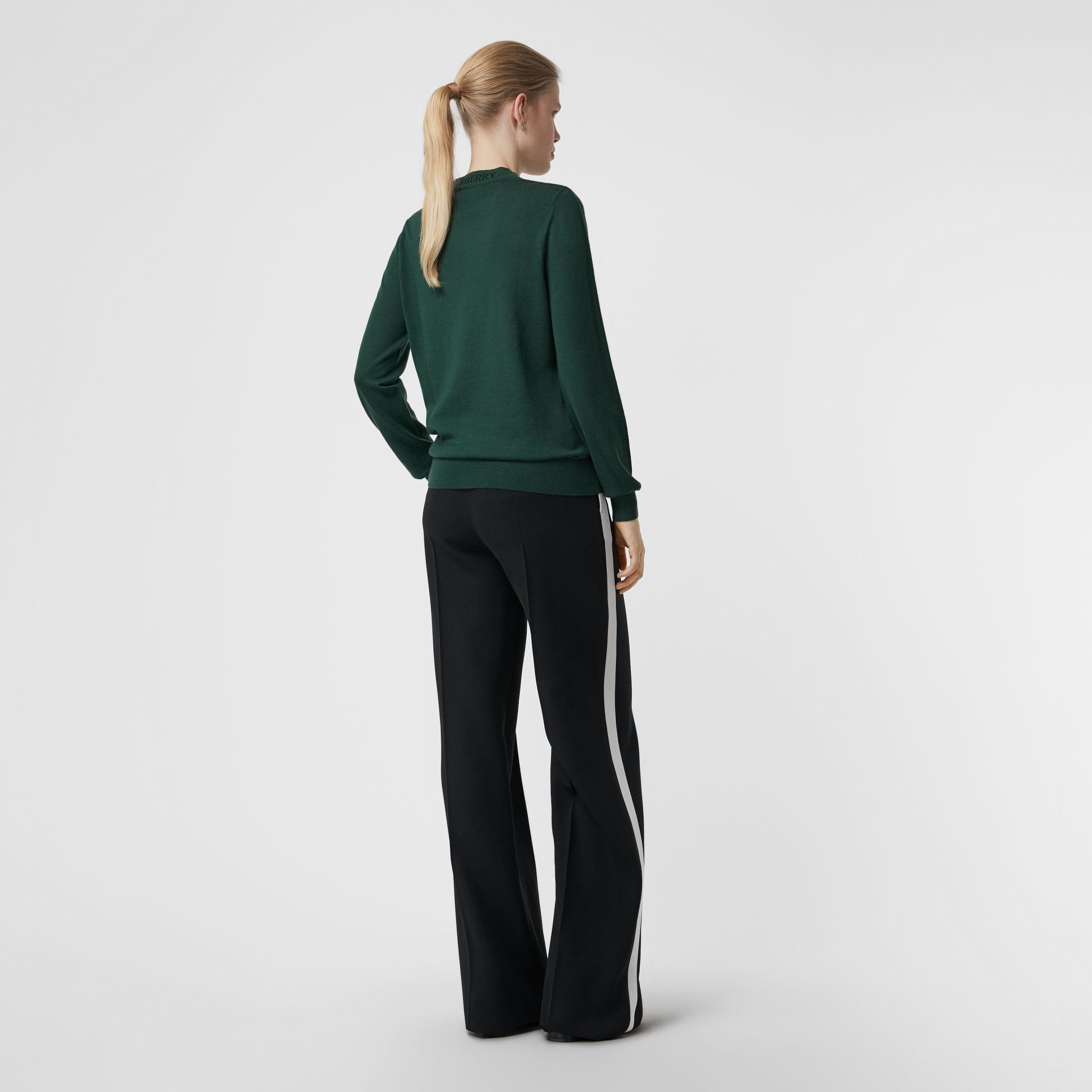 Merino Wool Crew Neck Sweater in Dark Forest Green - Women | Burberry Singapore - gallery image 2