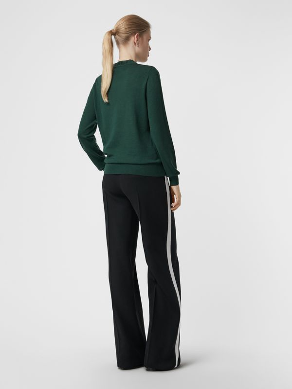 Merino Wool Crew Neck Sweater in Dark Forest Green - Women | Burberry Singapore - cell image 2