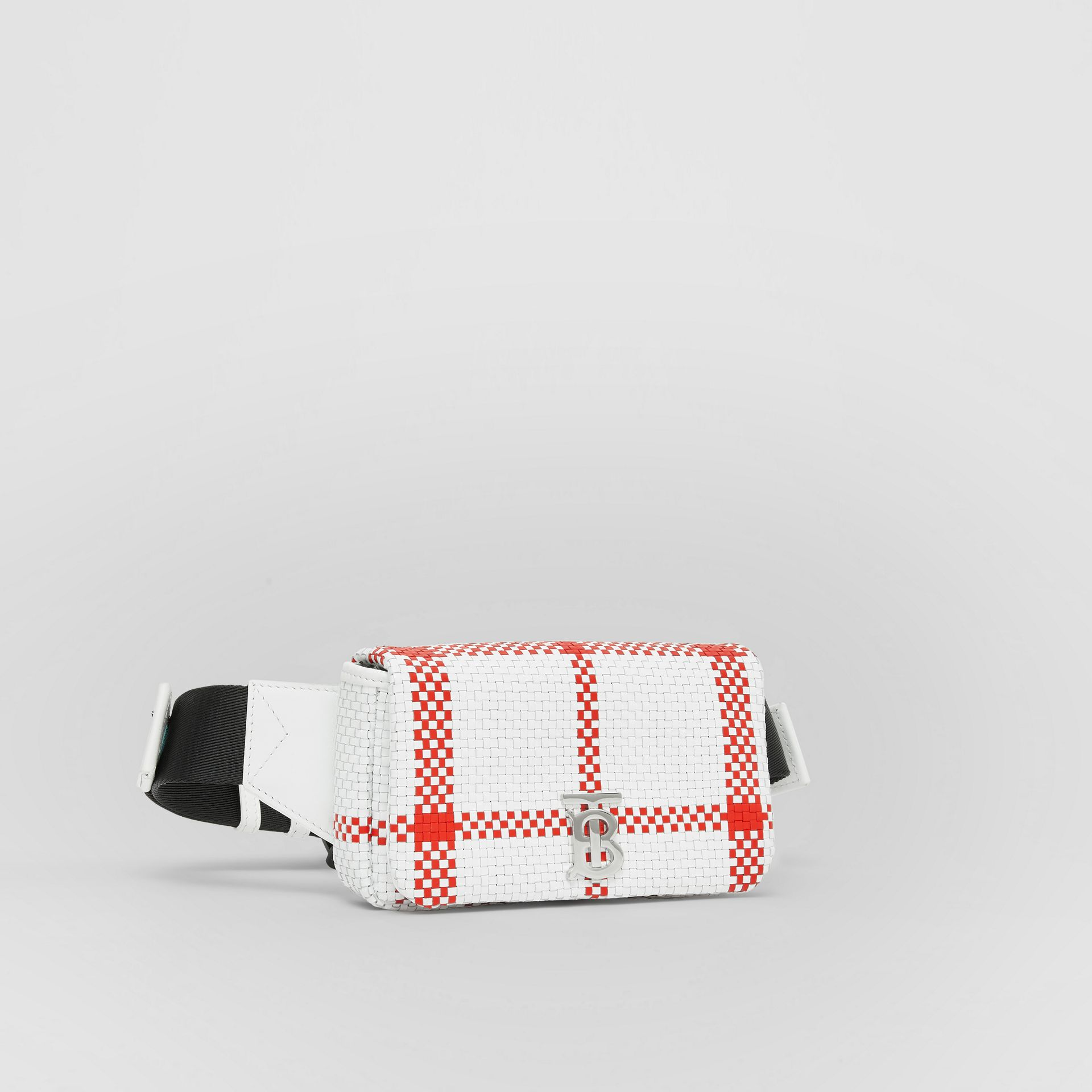 Latticed Leather Lola Bum Bag in White/red - Women | Burberry - gallery image 6