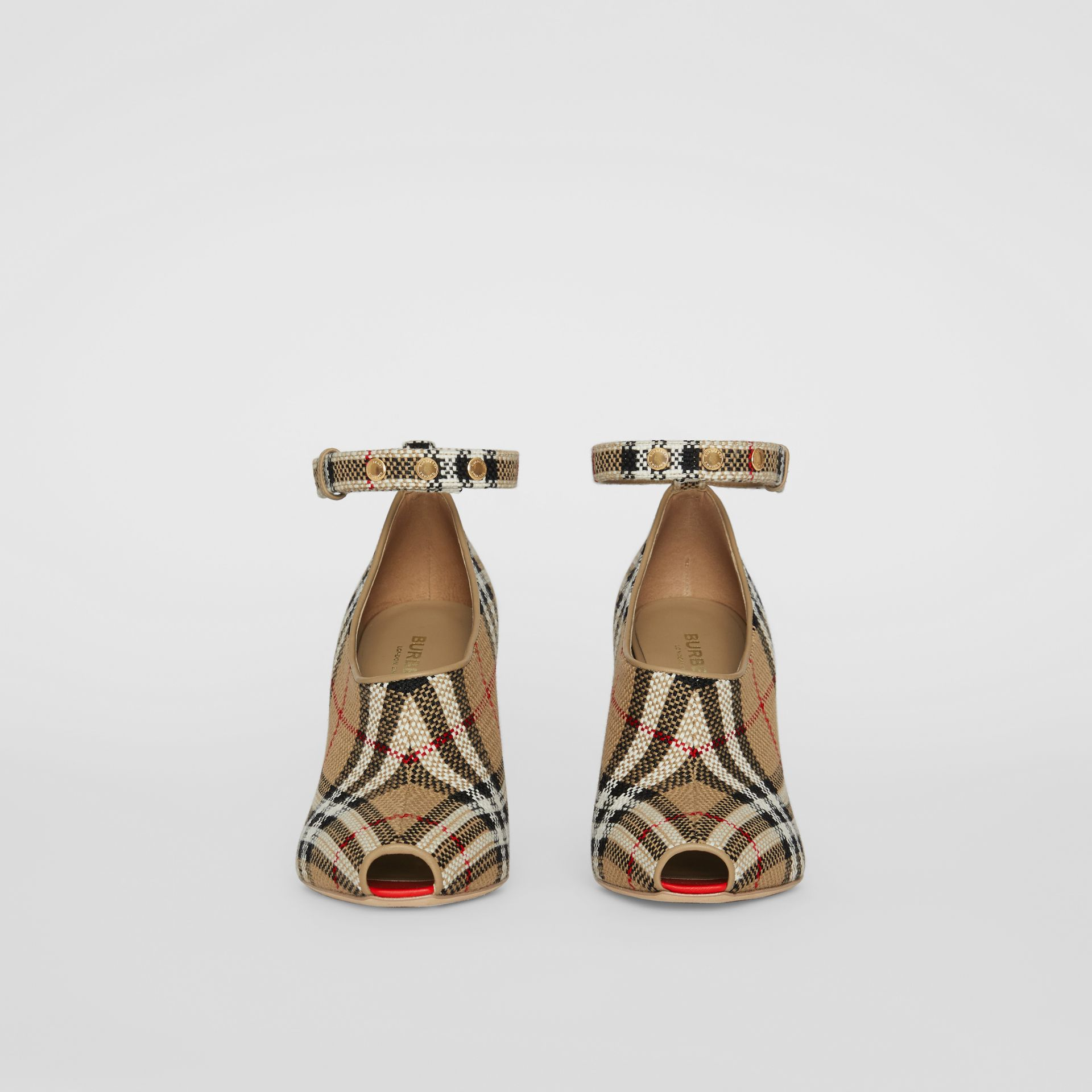 Vintage Check Peep-toe Pumps in Archive Beige - Women | Burberry - gallery image 3