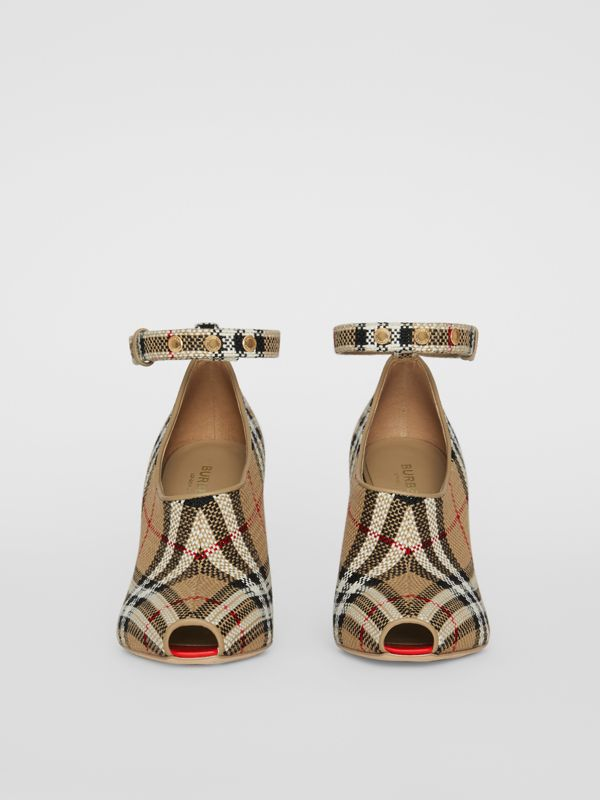Vintage Check Peep-toe Pumps in Archive Beige - Women | Burberry - cell image 3