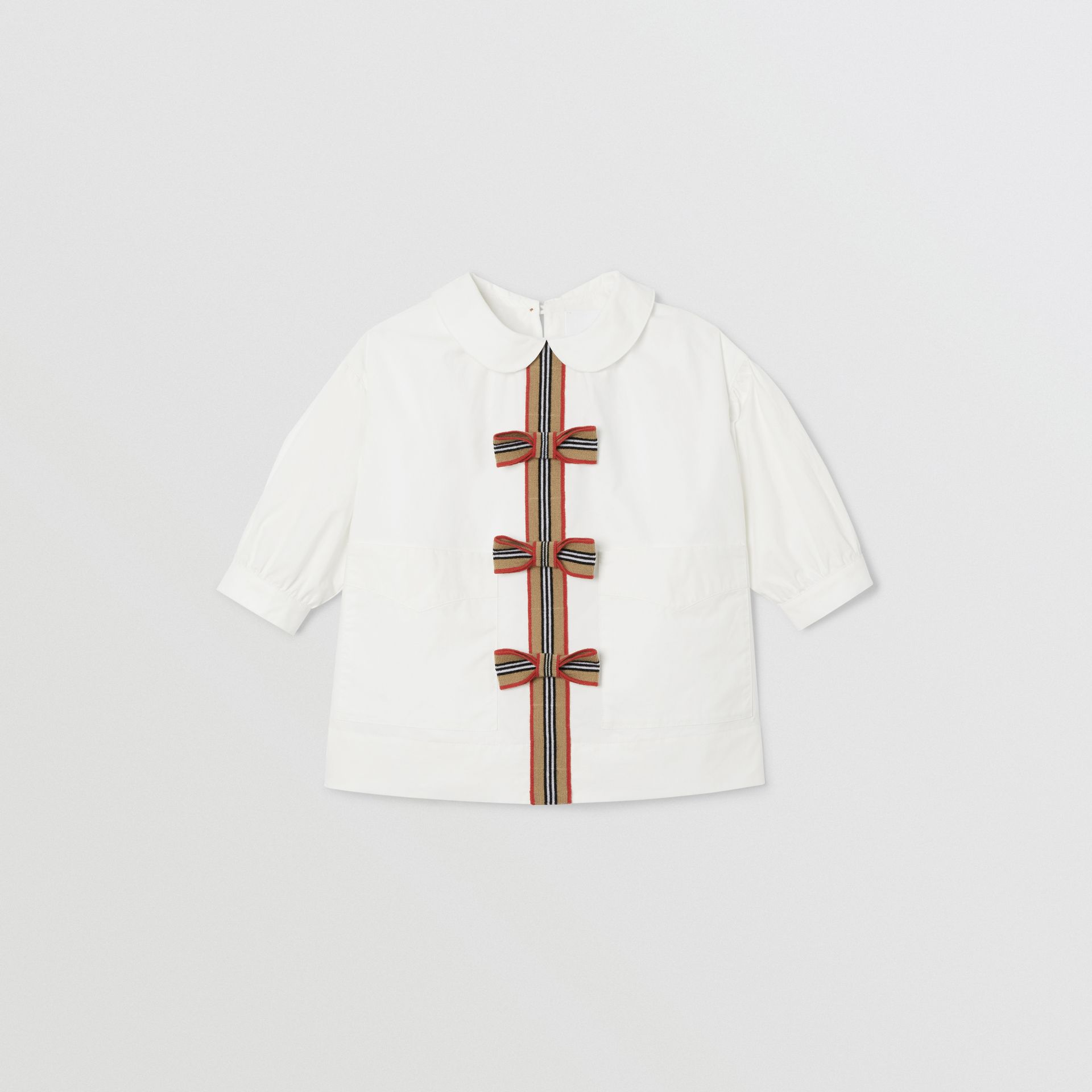 Icon Stripe Trim Stretch Cotton Poplin Dress in White - Children | Burberry United Kingdom - gallery image 0