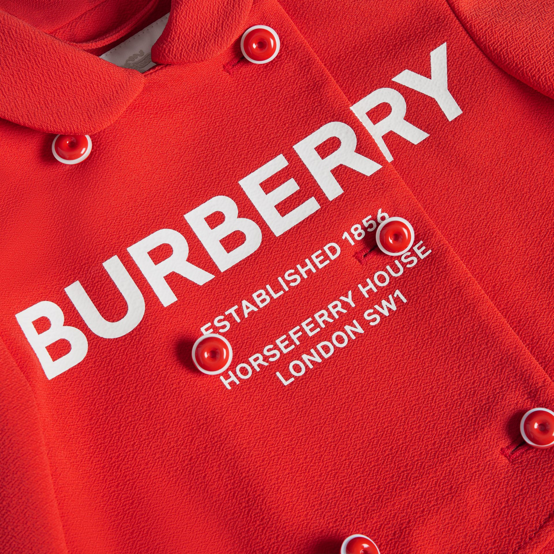 Logo Print Crepe Jersey Double-breasted Jacket in Bright Red | Burberry United Kingdom - gallery image 1
