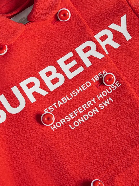 Logo Print Crepe Jersey Double-breasted Jacket in Bright Red | Burberry - cell image 1