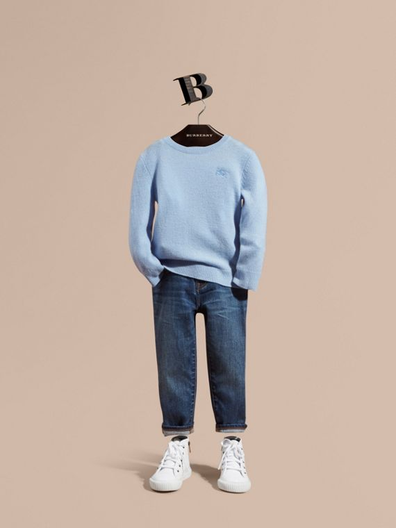 Check Elbow Patch Cashmere Sweater Pale Cornflower Blue
