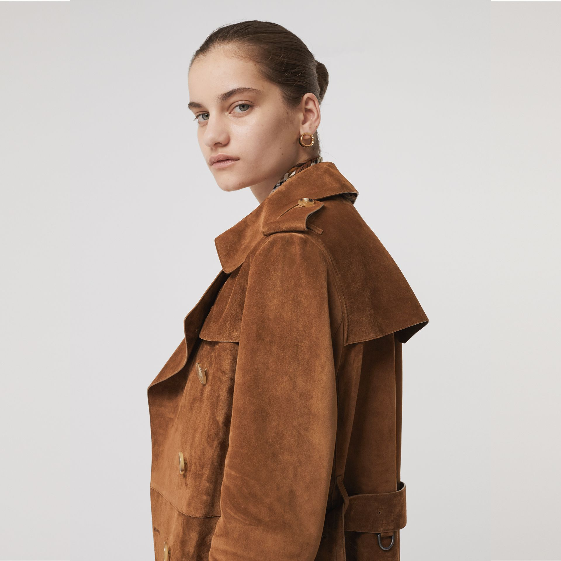 Suede Trench Coat in Sepia Brown - Women | Burberry - gallery image 4