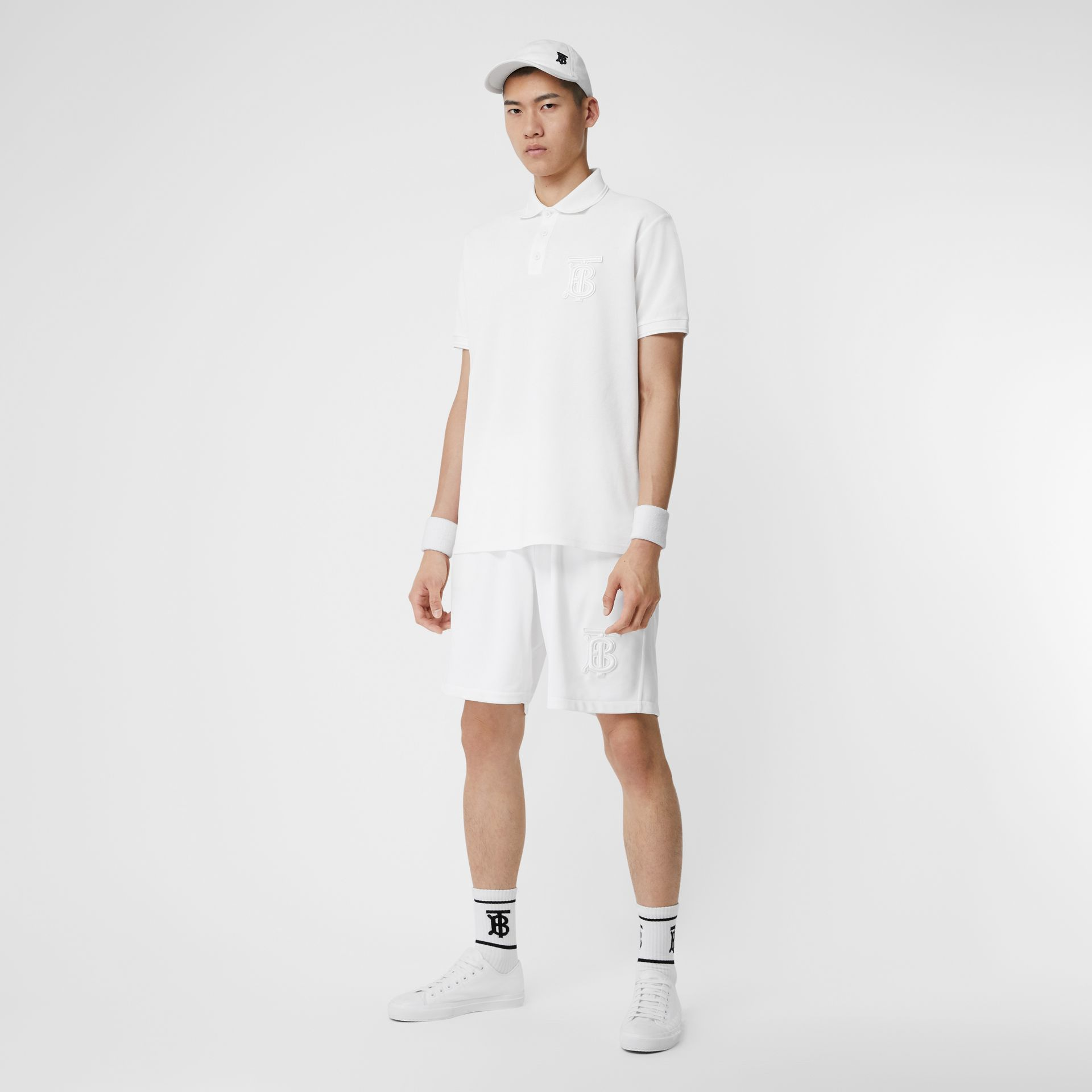Monogram Motif Jersey Tennis Shorts in White - Men | Burberry - gallery image 0