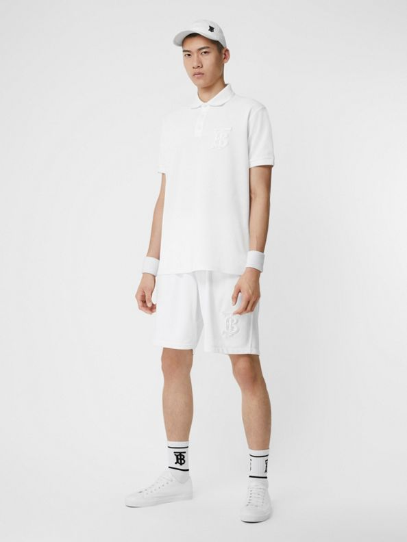 花押字圖案平織網球短褲 (白色)