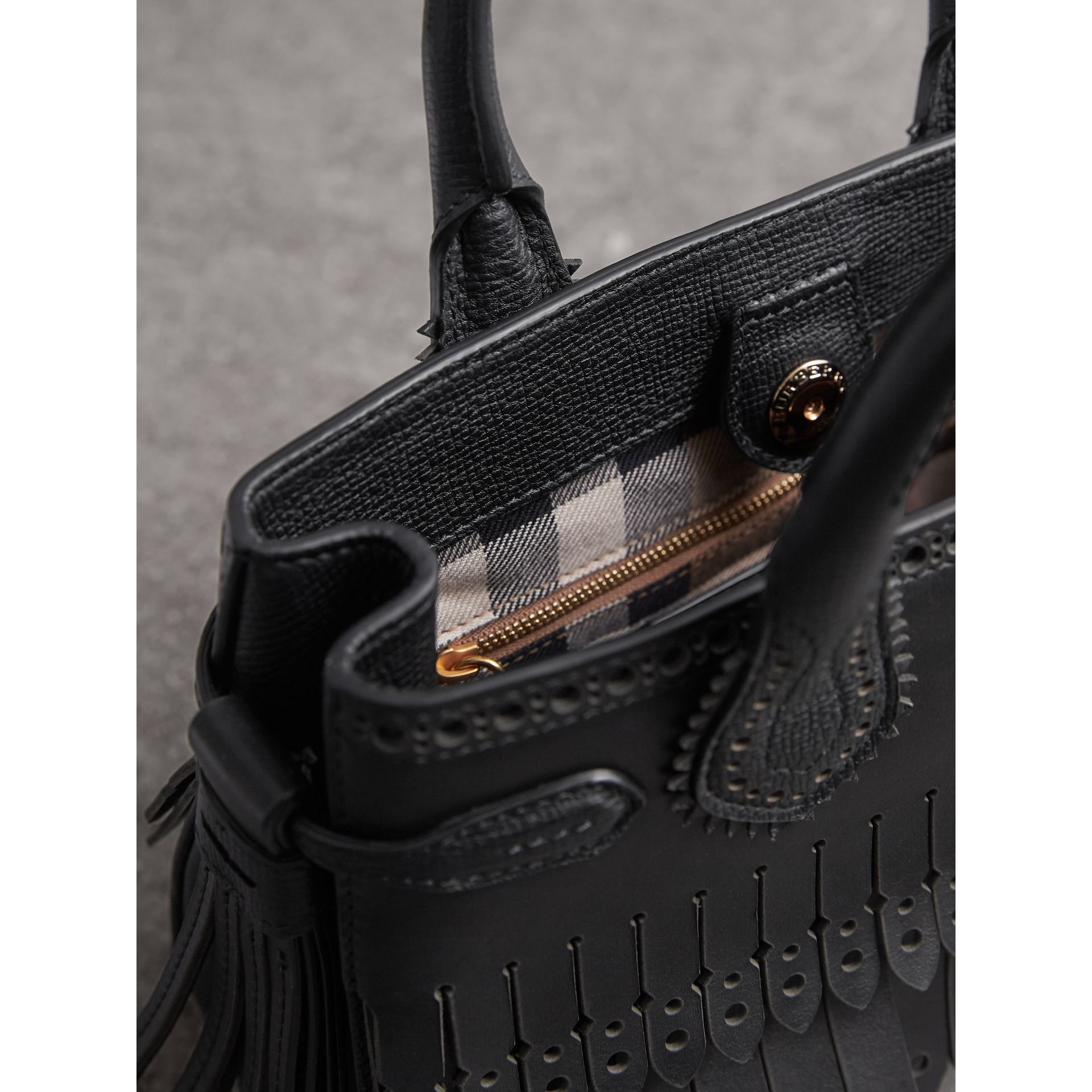 The Small Banner with Brogue Detail in Black - Women | Burberry Canada - gallery image 5