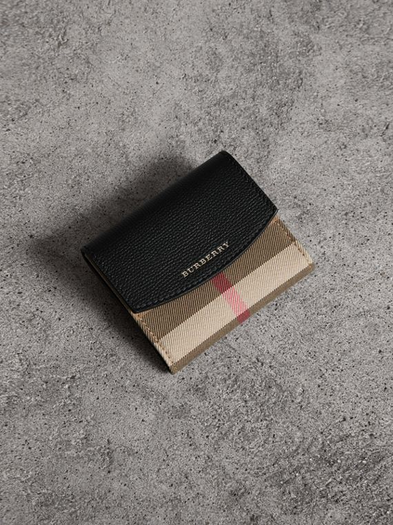 House Check and Leather Wallet in Black