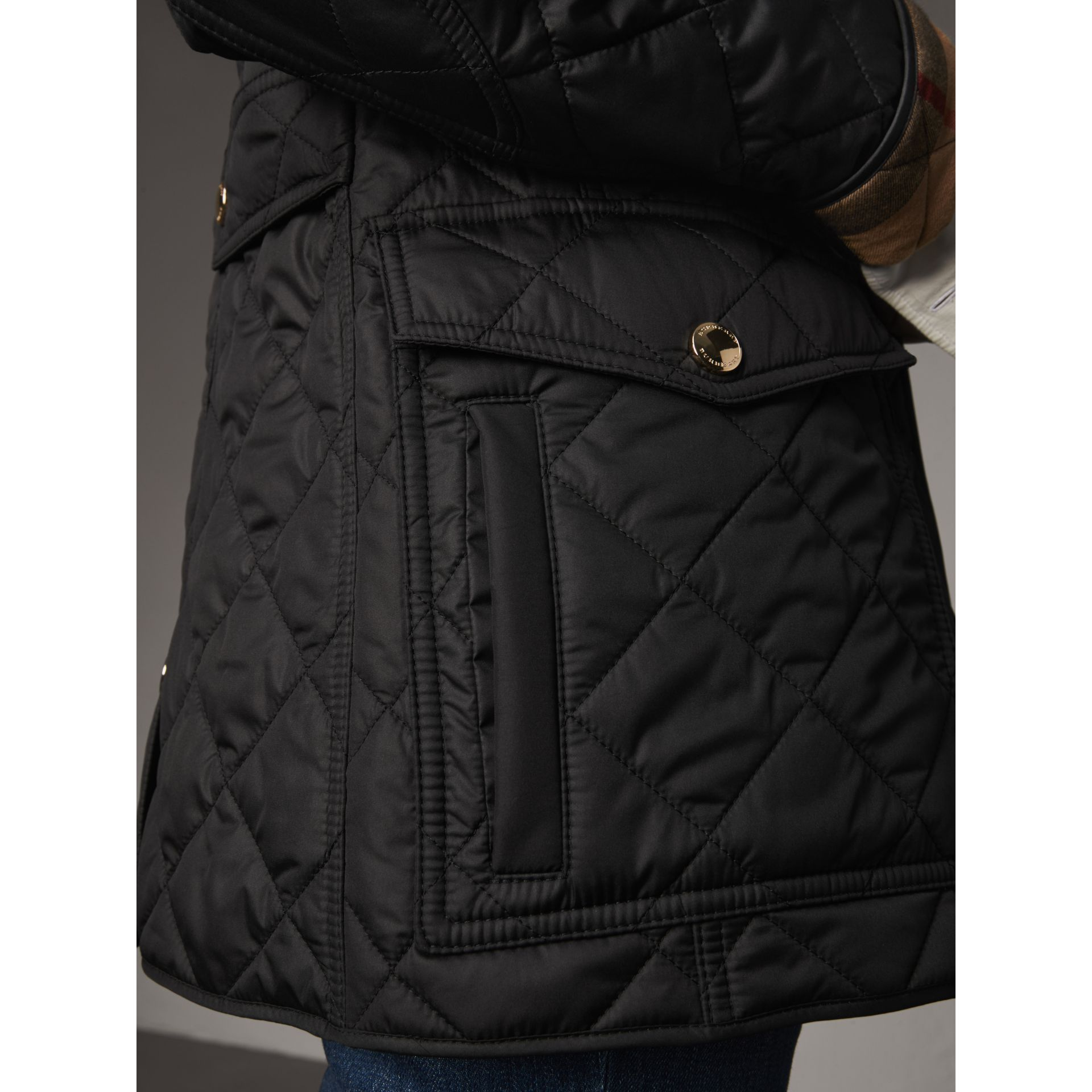Check Detail Diamond Quilted Jacket in Black - Women | Burberry - gallery image 5