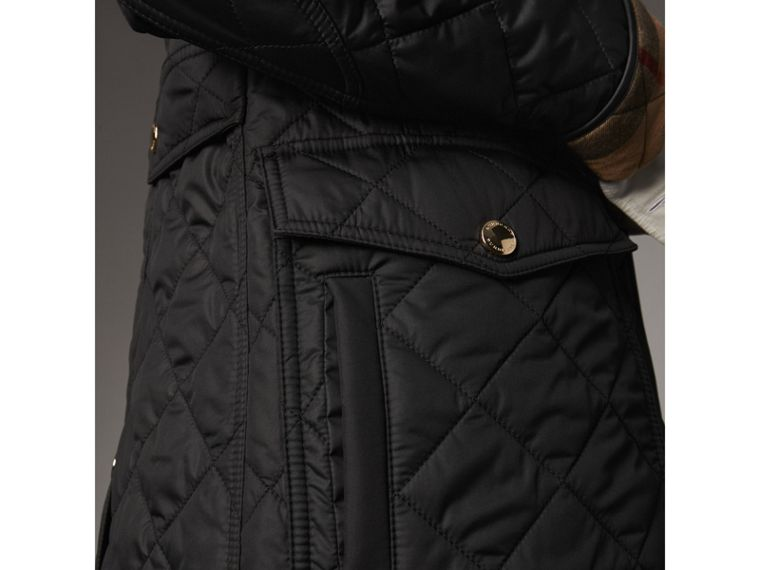Check Detail Diamond Quilted Jacket in Black - Women | Burberry - cell image 4