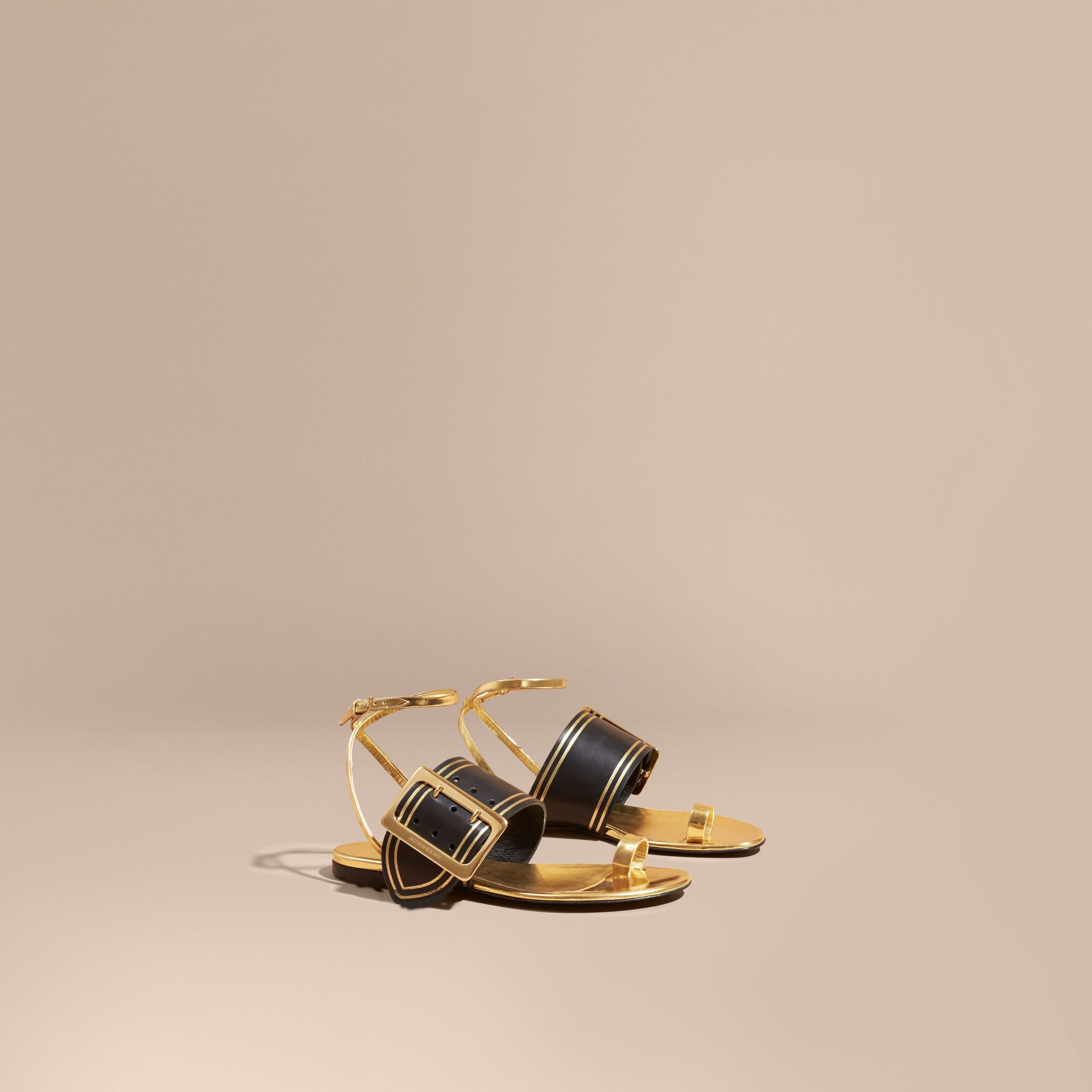 Antique gold Two-tone Leather Sandals with Buckles - gallery image 1