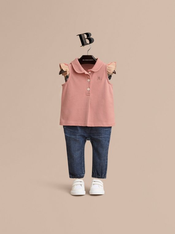 Flutter-sleeve Cotton Piqué Polo Shirt in Pale Rose
