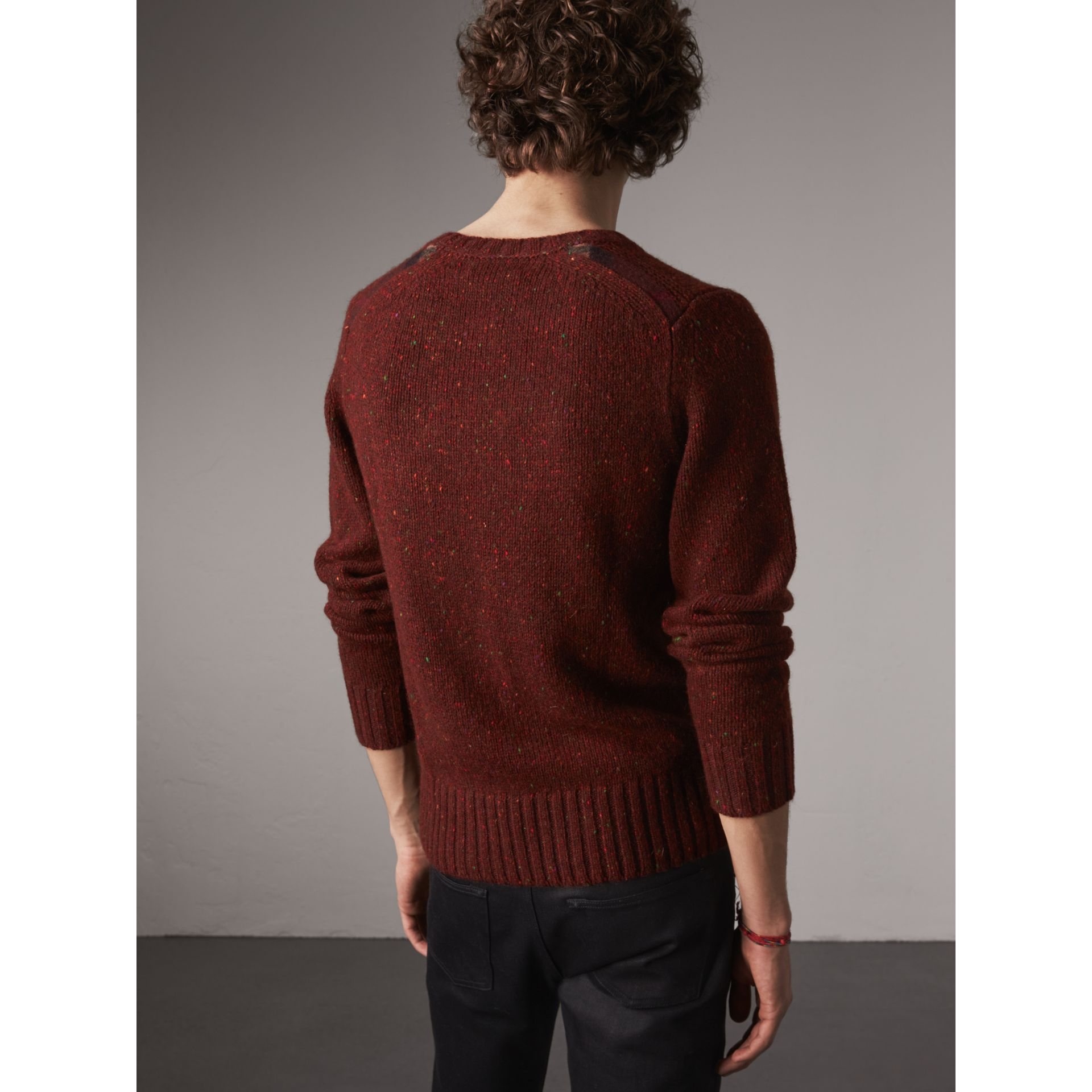 Wool Cashmere Mohair Tweed Sweater in Mahogany Red - Men | Burberry - gallery image 3