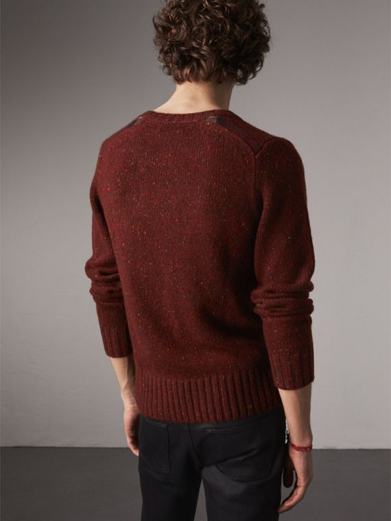 Wool Cashmere Mohair Tweed Sweater in Mahogany Red - Men | Burberry - cell image 2