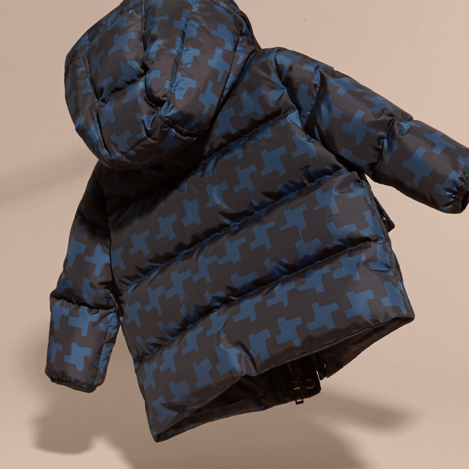 Mineral blue Geometric Print Down-filled Jacket Mineral Blue - gallery image 4