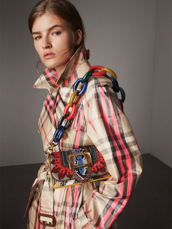 The Patchwork in Exotics and Punched Leather in Yellow/plum - Women | Burberry - cell image 3