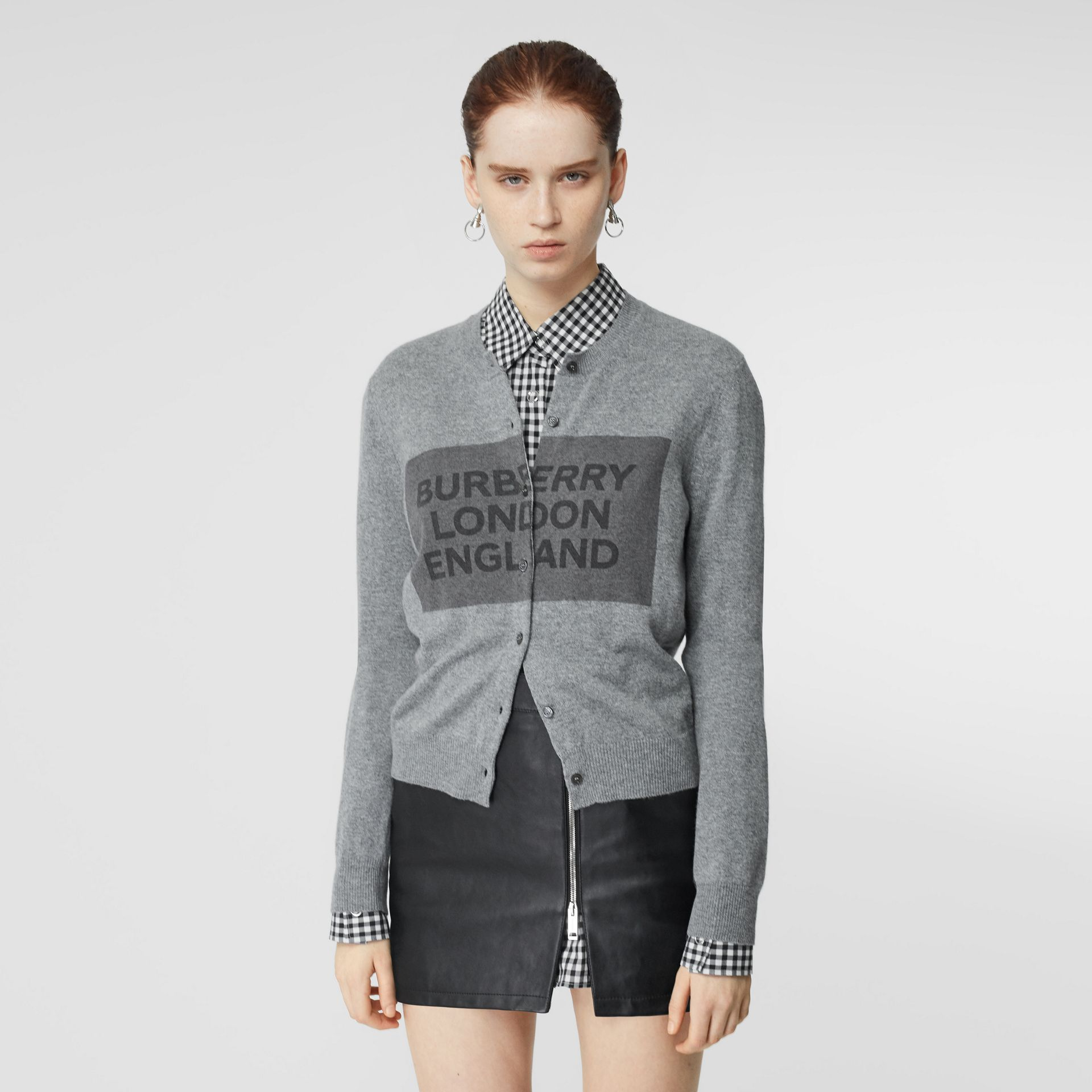 Logo Detail Cashmere Cardigan in Grey - Women | Burberry - gallery image 5