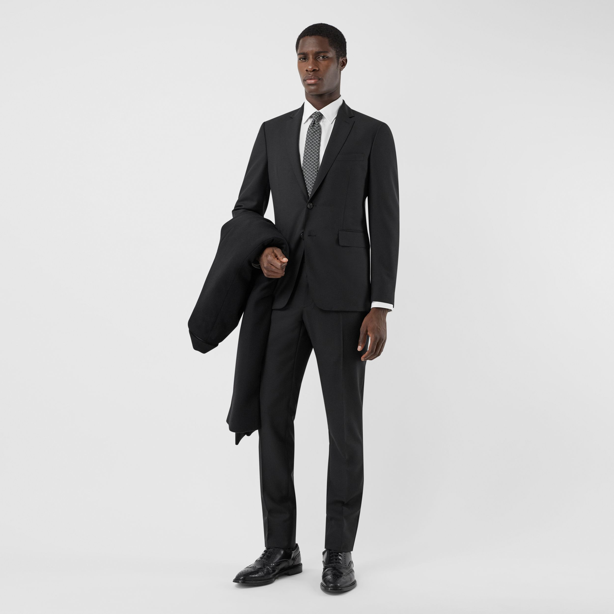 Slim Fit Wool Mohair Suit in Black - Men | Burberry United States - 1