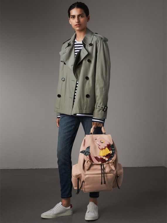 The Large Rucksack in Deerskin with Beasts Motif in Pale Apricot - Women | Burberry - cell image 2