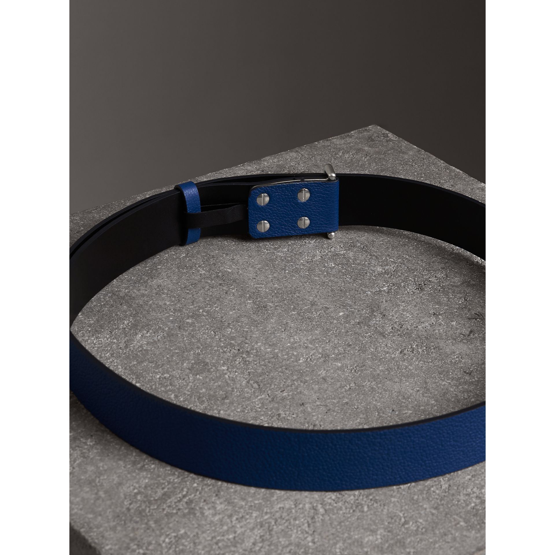 Push-Stud Grainy Leather Belt in Bright Ultramarine - Men | Burberry Australia - gallery image 3