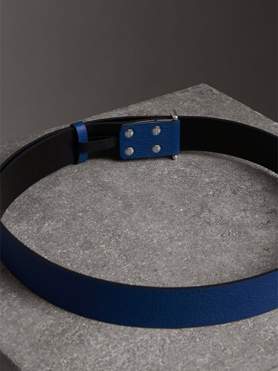 Push-Stud Grainy Leather Belt in Bright Ultramarine - Men | Burberry Australia - cell image 3