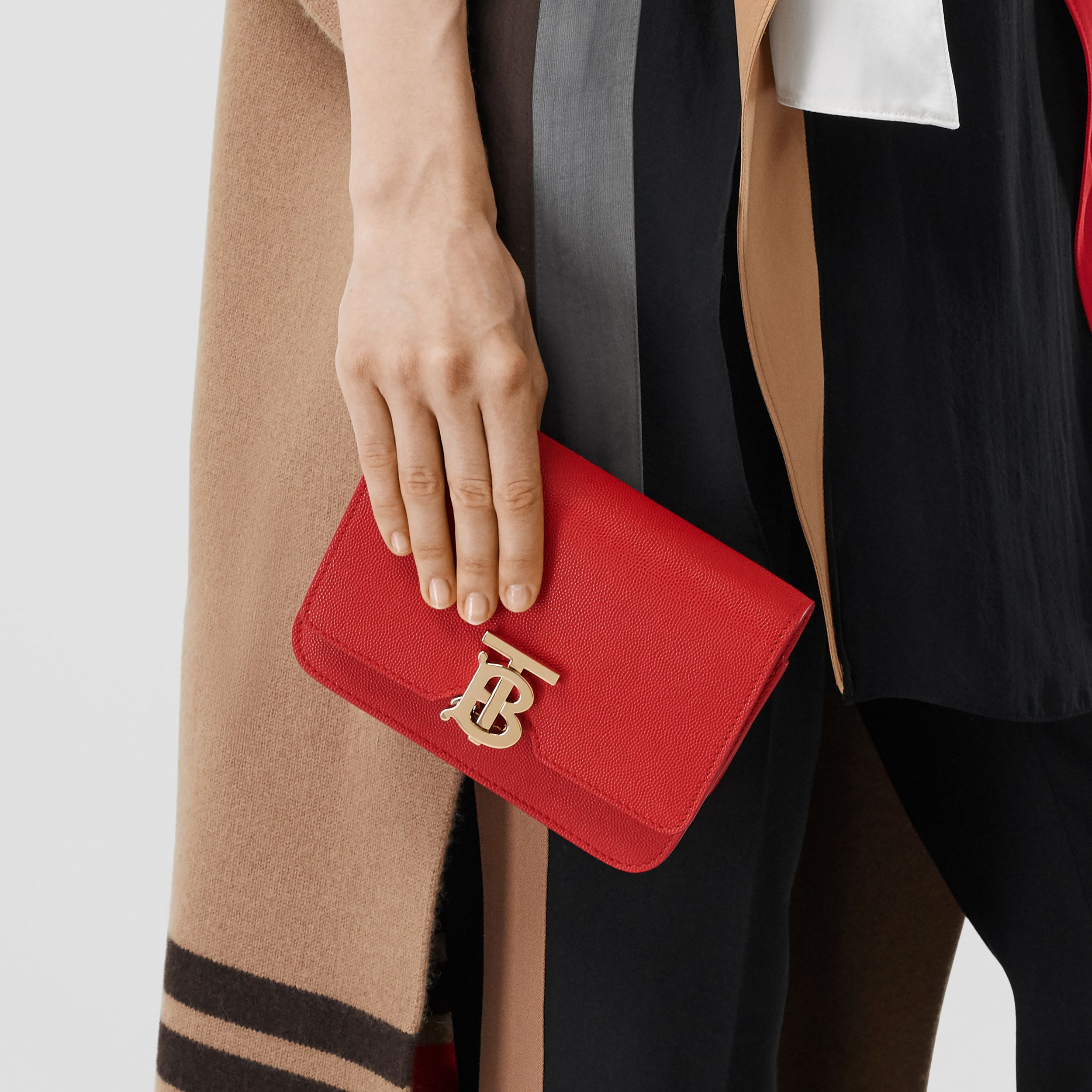 Mini Grainy Leather TB Bag in Bright Red | Burberry - 3
