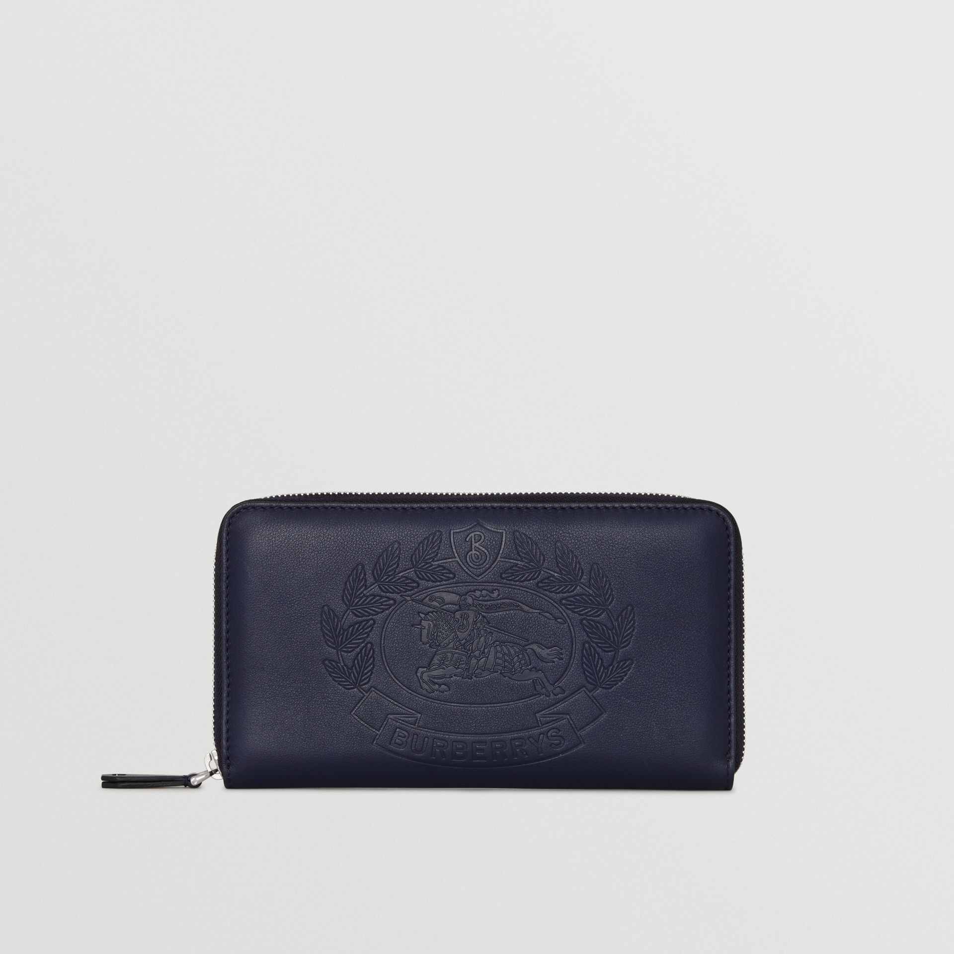Embossed Crest Leather Ziparound Wallet in Regency Blue - Men | Burberry - gallery image 2