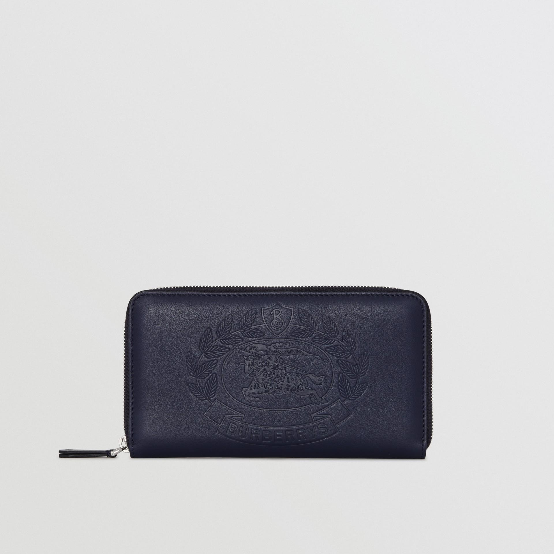 Embossed Crest Leather Ziparound Wallet in Regency Blue - Men | Burberry Australia - gallery image 2