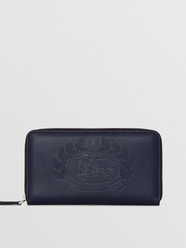 Embossed Crest Leather Ziparound Wallet in Regency Blue - Men | Burberry - cell image 2