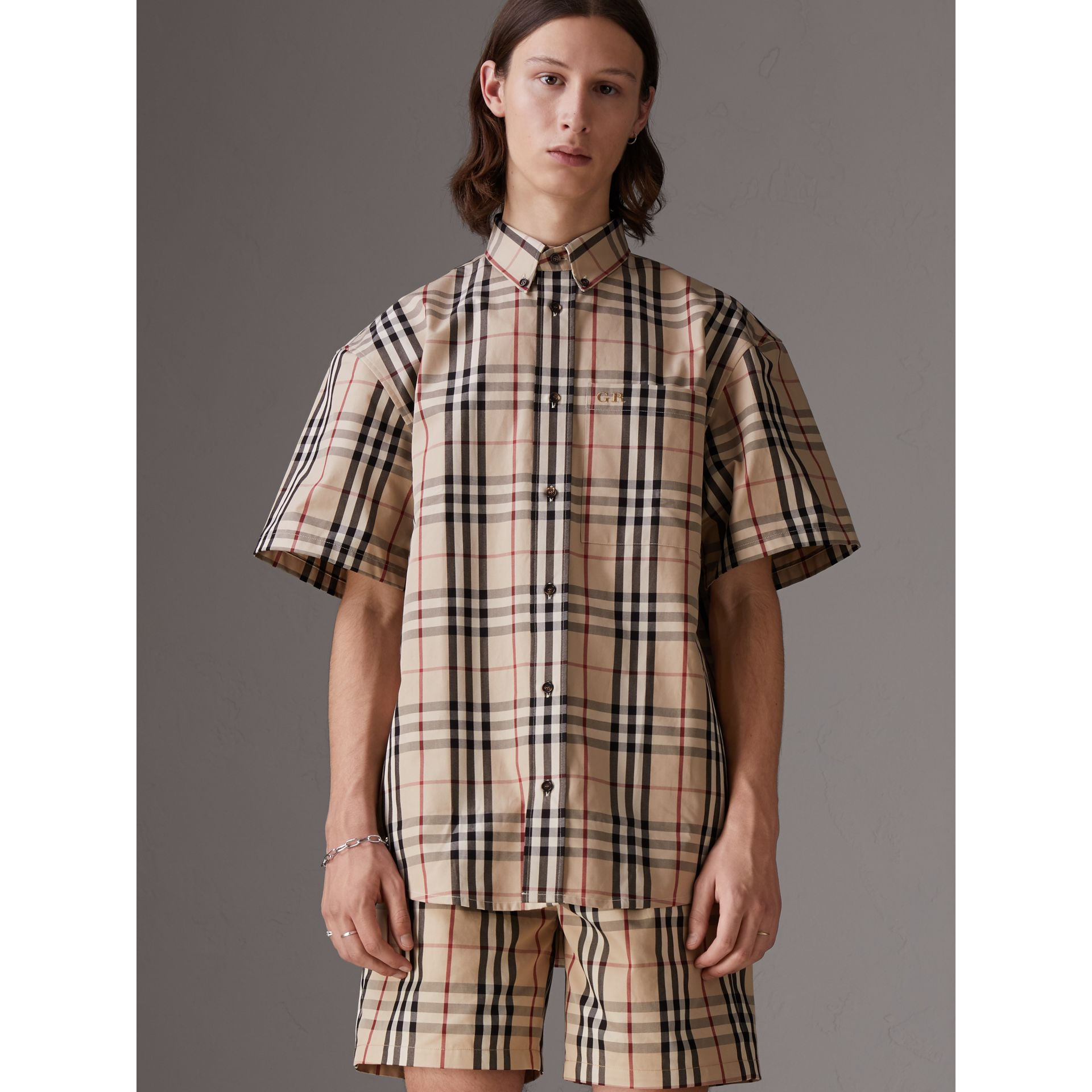 Gosha x Burberry Short-sleeve Check Shirt in Honey | Burberry United States - gallery image 0