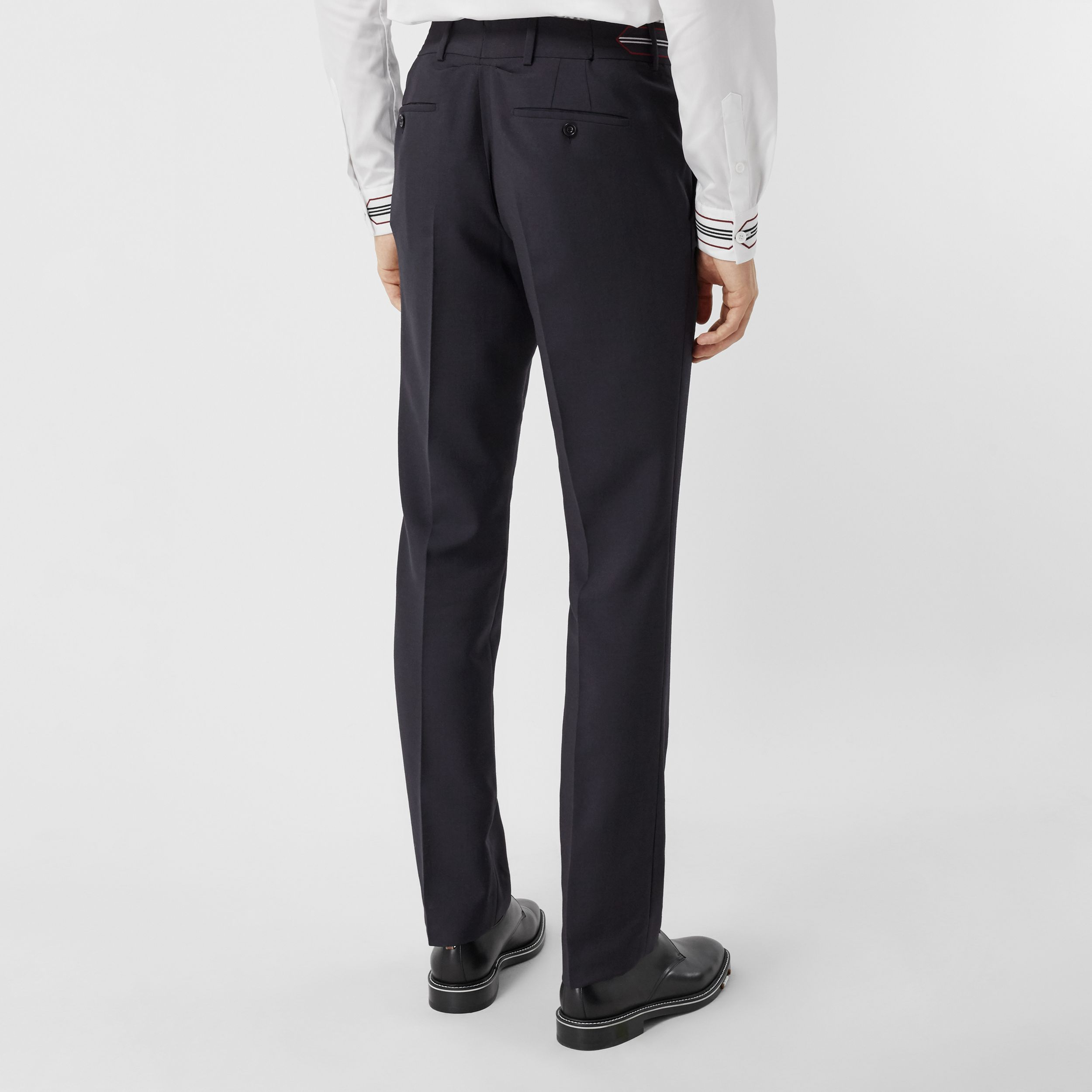 Classic Fit Stripe Detail Wool Mohair Tailored Trousers in Navy - Men | Burberry - 3