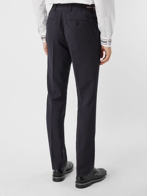 Classic Fit Stripe Detail Wool Mohair Tailored Trousers in Navy | Burberry - cell image 2