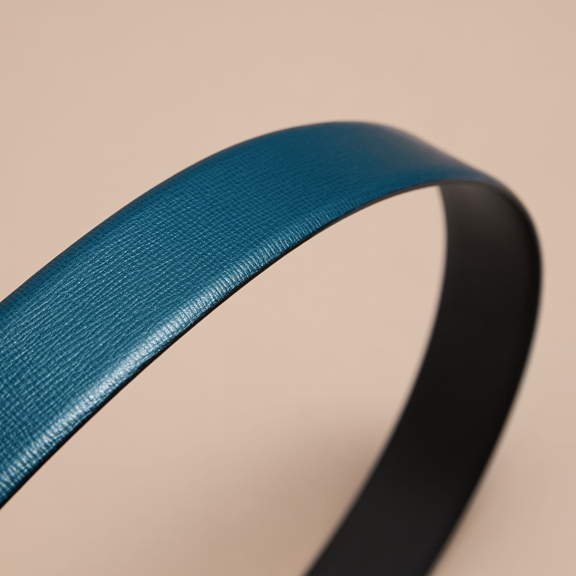 London Leather Belt with Plaque Buckle Mineral Blue - gallery image 4