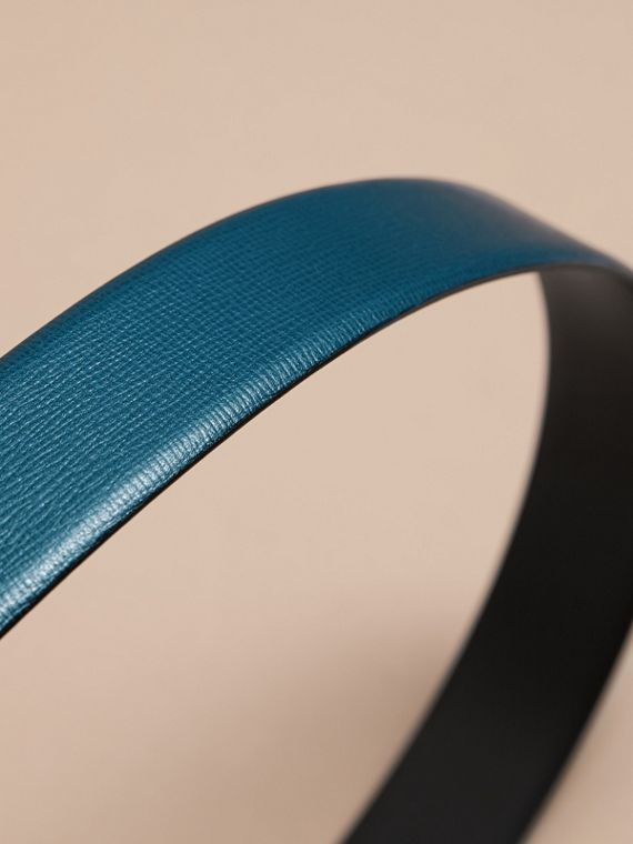 London Leather Belt with Plaque Buckle Mineral Blue - cell image 3