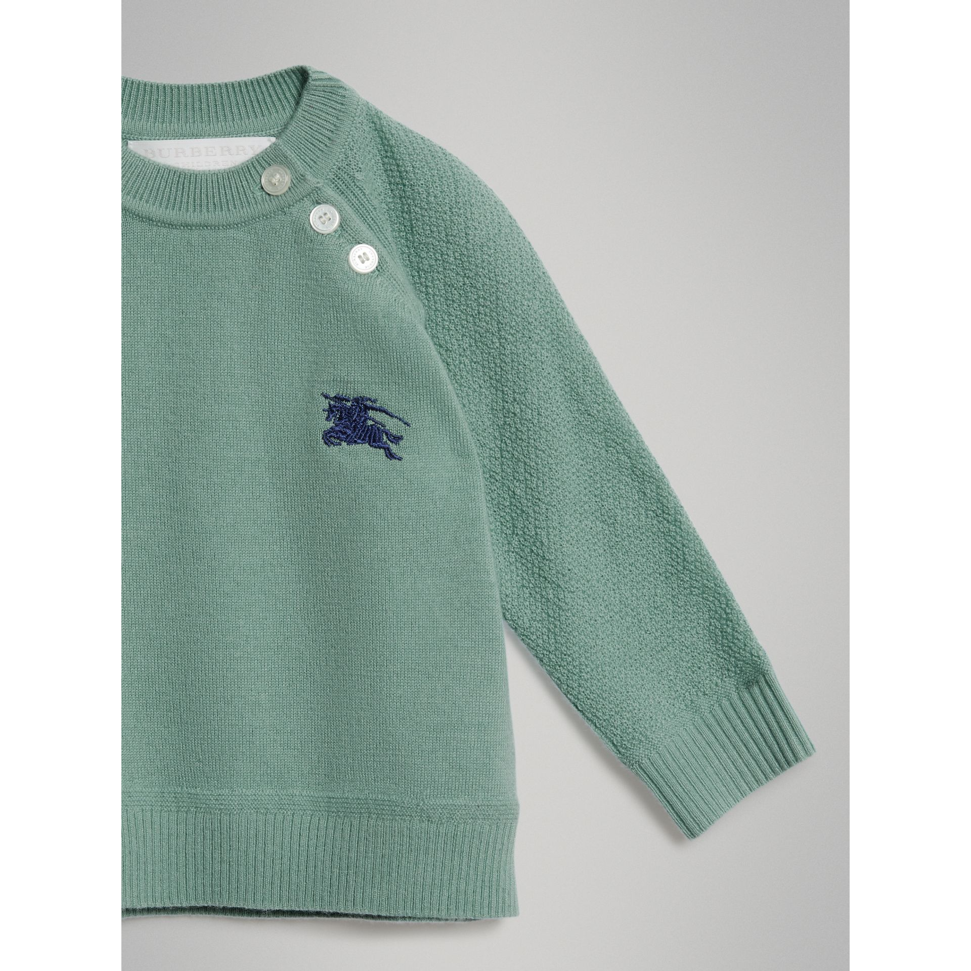 Contrast Motif Cashmere Sweater in Dusty Mint Melange - Children | Burberry Singapore - gallery image 4