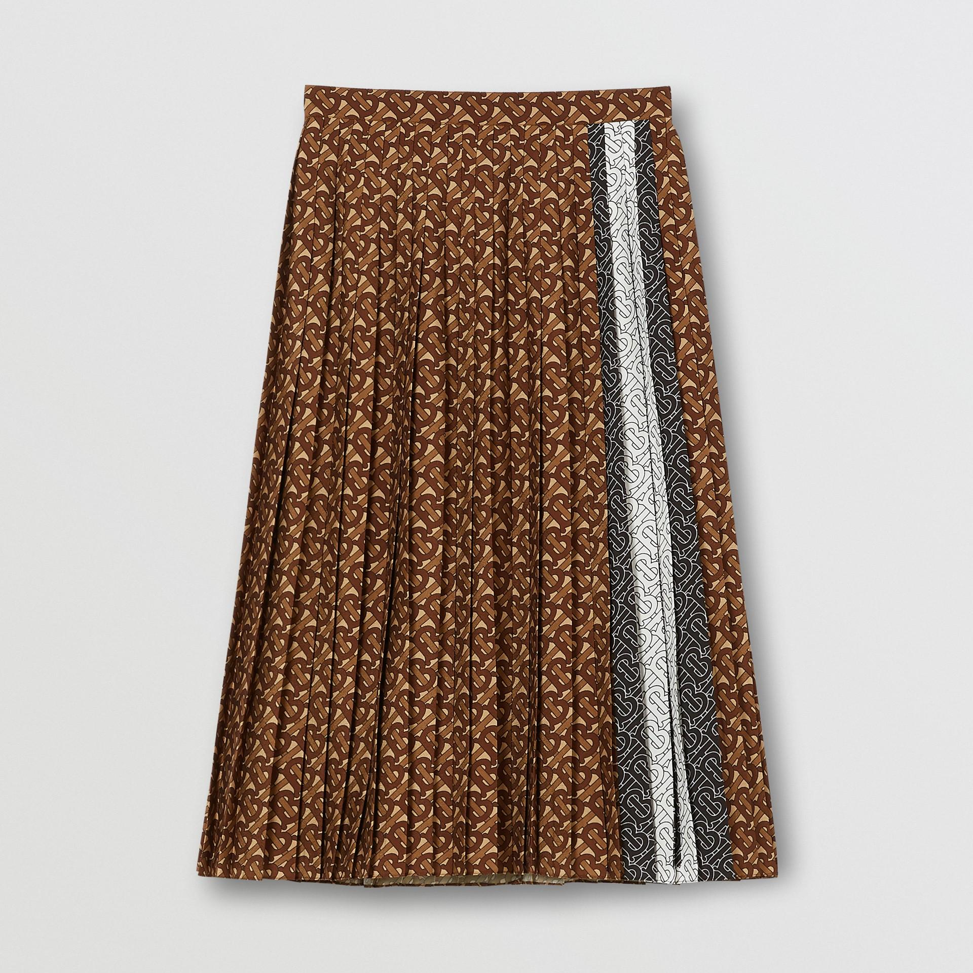 Falda plisada en crepé con estampado de rayas y monogramas (Moca Oscuro) - Mujer | Burberry - imagen de la galería 3