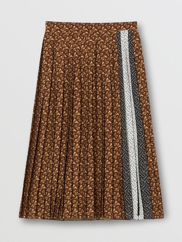 Falda plisada en crepé con estampado de rayas y monogramas (Moca Oscuro) - Mujer | Burberry - cell image 3