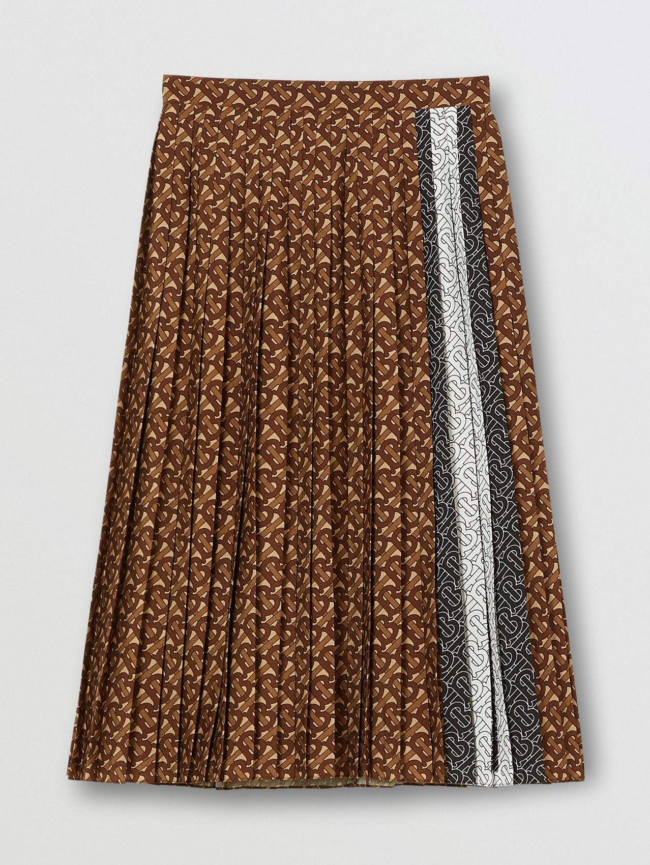 Monogram Stripe Print Crepe Pleated Skirt in Dark Mocha